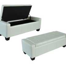 Leather Ottoman Stool Storage Bench-White